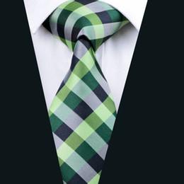 Green Plaid Necktie for Men Jacquard Woven Silk Tie Business Party 8.5cm Width Necktie D-0406