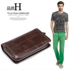 Wholesale Genuine Leather Mens Wallets Designer Chocolate Color Mens Wallet Case Best Cowhide Hot Sale
