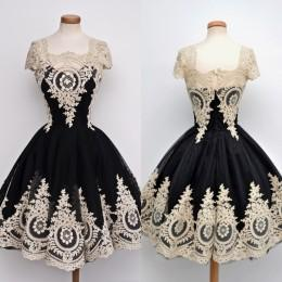 2016 Short Prom Dresses with Cap Sleeves Cheap Ball Gowns Little Black Cocktail Dresses Appliques Wedding Party Dresses