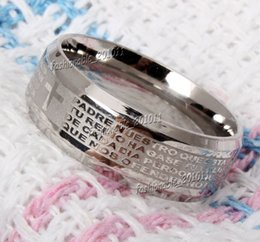 Stainless Steel Etched Spanish Lord's Prayer Cross Wedding Silver Men's Women's Band Ring Size 6-14 New