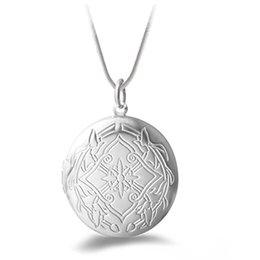2015 Hot Women's Fashion Silver Plated Carving Locket Pendant Chain Necklace Jewelry With photo
