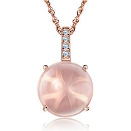 Woman silver necklaces pink rose quartz drop shape necklace wedding charms vintage golden color pendant necklace