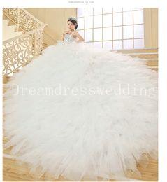 Wholesale 2016 A line Wedding Dresses New luxury Feather bridal dress Sweetheart strapless crystals Grid Yarn Fashion Vestido De Noiva