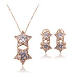 Five-pointed star Full Rhinestone Necklace Earrings Sets High Quality Zircon Jewelry Sets For Wedding CAL21056A