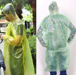 Wholesale Portable Disposable Adult Emergency Waterproof Raincoat Hood Poncho Travel Camping Plastic Raincoat Poncho Rainwear Amusement park poncho