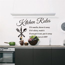 Wholesale New Arrivals Wall Stickers Home Decor Art Mural Decal Kitchen Rules DIY Words Removable PVC C429