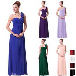 2015 Purple Pink Blue Long Sexy Bridesmaid Dresses Flowers A Line Floor Length One Shoulder Chiffon Padded 2015