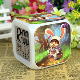 Wholesale League of Legends LED Alarm Clock Flash Touch Color Change Light Digital Clock Cartoon Figurines Desktop Musical Mutifunctional Clock Toys