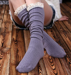 Beautiful fashion High Quality Boot Socks Knee High Socks Women Lace Boot Socks with Frilly Socks 10pair=20pcs lot
