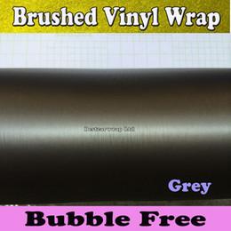 Wholesale Metal Grey Brushed Steel Vinyl Car Wrap Film Vehicle Wrap Air Bubble Free Anthracite Metallic Matt Brushed aluminum Vinyl x30M Roll
