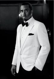 Custom Made 2016 New Arrival Groom Tuxedo White Jacket Black Pants Wedding Suit For Men Prom Suit Tuxedos (Jacket+Pants+Bow)