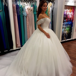 Vestidos de Novia Wedding Dresses Sheer Tulle Off Shoulder Back Corset Ball Gown Plus Size Bridal Gowns With Sparking Crystal Beading Lace