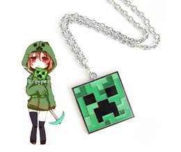 Wholesale 2014 Anime Series MINECRAFT Sandbox Game My World JJ Blame Coolie Afraid Of The Crawler s Face Necklace