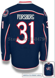 Wholesale Factory Outlet HOT MEN S Columbus Blue Jackets Anton Forsberg HOME BLUE ICE Hockey Jersey Authentic Jersey Size M XL Accept Mix Orde