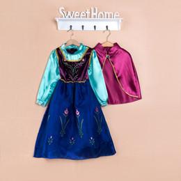 Free Shipping Frozen dress costumes long sleeve skirt christmas xmas Princess Elsa 2015 new girls party wear clothing dress for Halloween