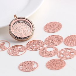 Free Shipping Mixed Rose gold Hollow Window Plates 22mm Round Floating Plates Plates Charms for 30mm Floating Locket