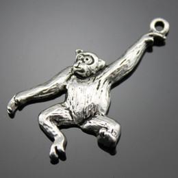 Wholesale 50pcs mm antique silver tone monkey charm