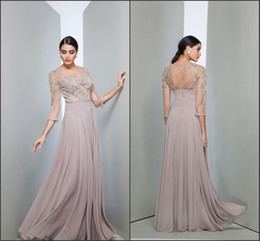 Wholesale Long Sleeve Mother of the Bride Dresses Sheer Jewel Neck Illusion Bac k with Beads Appliques A Line Chiffon Party Gowns BO9903