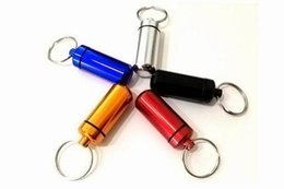 Wholesale Piece Pill Box Pill Case WaterProof Aluminum Drug Case Bottle Holder Container With Keychain