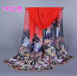 Wholesale 2016 Fashion Trend Women Scarfs Long Size Chinese Small Dwellings Pattern Scarves Sarongs Chiffon Printed For Beach Party XQ149