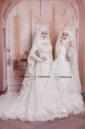 Novias musulmanes vestidos simples en Línea-2015 Nuevo Musulmán Vestidos de Novia Vestidos de Novia de Manga Larga de los Vestidos de Novias de Alta Cuello de Marfil de Tul Una Línea de Longitud Completa