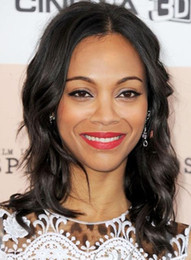 Zoe Saldana Hairstyle Medium Wavy 14 Inches Natural Black Human Remy Hair Lace Wig Full Lace Wig Front Lace Wig for Black Women Bella Hair