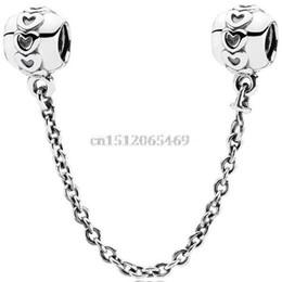 Wholesale Brand Heart Patterns Fine Safety Chain Style Sterling Silver European Bead Charm For DIY Women Snake pandora Bracelet Bangle Jewelry