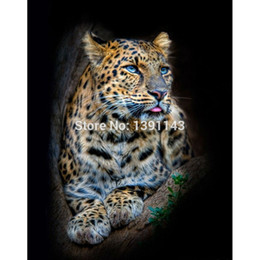 Wholesale lonely leopard d Needlework pasted Diy diamond painting full drill diamond painting wall decorative paintin Still life to spend
