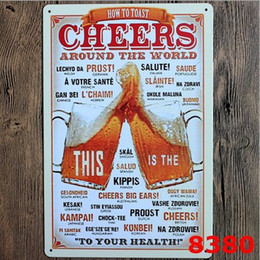 HOW TO TOAST CHEERS BEER Metal Tin Sign Poster Wall decor Bar Retro Painting Metal Craft ART Painting 20*30cm