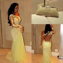 Wholesale Celebrity Black Dresses One Shoulder - Cheap Arabic long sleeve mermaid prom party dresses 2016 sweep train lace sheer nude tulle chiffon formal evening celebrity red carpet gowns