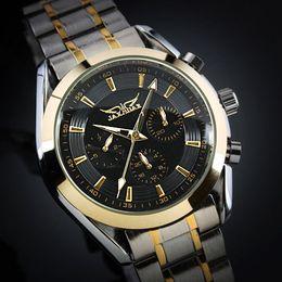 Jaragar Fashion brand Men's black Dial Golden Case Elegant 6 Hands Multifunction Automatic Mechanical Watch