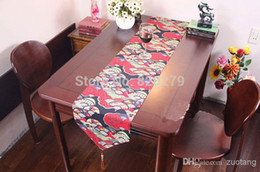 New Designs Cotton Fan Pattern Christmas Table Runner Long Coffee Table Cloths Chinese style Bed Runner size L200 x W30cm 1pcs F