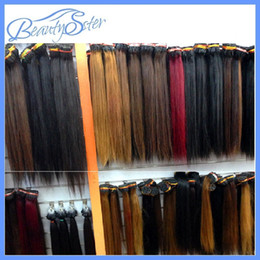 Wholesale Stick Virgin Hair - wholesale Cheap Double Drawn Human Remy Silky Straight Blonde Keratin Stick I Tip Pre Bonded Micro Fusion Hair Extensions Salon Supply