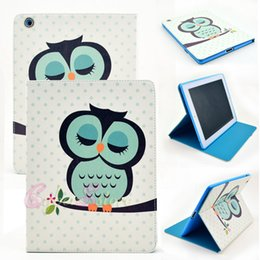 Mélanger le cas de mode en Ligne-Pour iPad 4 3 2 / air 5/6 / Mini Fashion Owl Cartoon Flower Flip Housse en cuir pour tablette avec support Support Folding Folio