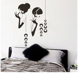 Wholesale Large Vinyl Music Wall Stickers - fashion gilr listening music removable DIY creativel decals removable vinilo wall stickers home decoration adesivo de parede art