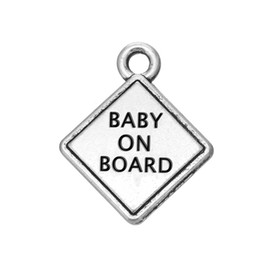 Wholesale New Fashion Easy to diy antique silver plated baby on board message charms jewelry making fit for necklace or bracelet