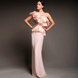 2015 Pink One Shoulder Sheath Long Evening Dresses With Peplum Floor Length New Arrival Prom Dresses