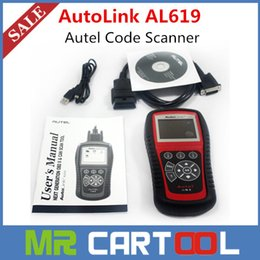 Wholesale 100 Original Autel AutoLink AL619 Auto diagnostic Scan Tool with ABS and SRS years warranty Update online DHL FEDEX