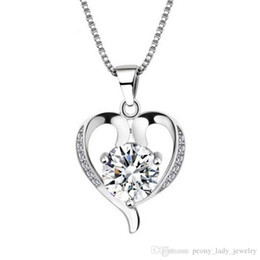 2018 woman silver necklace crystal pendant statement necklaces vintage wedding hollow heart fashion free shipping necklace
