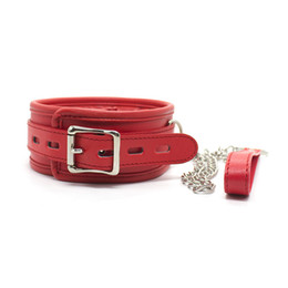 Wholesale Sex Collar Leashes - 2016 new Red Adult Sex Bondage Padded Leather Collar with Leash Female Fetish Slave Trainer Toy
