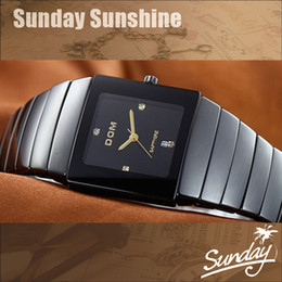 Wholesale electronic New DOM luxury brand fashion quartz watch black ceramic men women dress rhinestone watches dive wristwatches