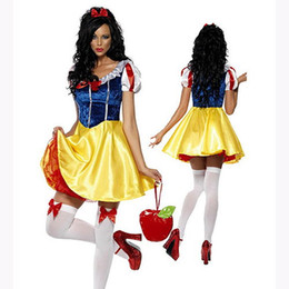 Sexy Snow White Princess Adult Halloween Costume Womens Fairytale Cosplay Christmas Performances Fancy Dress Scoop Neck Pleated Dress