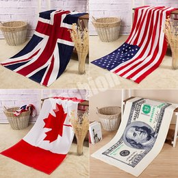 Wholesale Towel Beach American British Canada Flag Printed Bath Towel Pure Cotton cm Factory Direct DHL Free