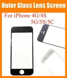 Descuento iphone vidrio de alta calidad Copia de alta calidad para Apple iPhone 4 4G 4S 5G 5S 5C pantalla táctil digitizador cubierta frontal de cristal transparente transparente transparente blanco negro SNP006