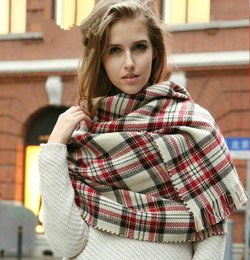 Hot sale Oversized Scarf Wrap Shawl Plaid Cozy Checked beige Pashmina blanket plaid scarf Christmas party