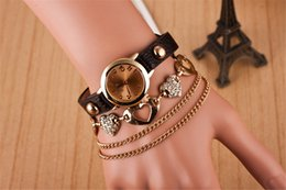 Wholesale-Best selling gold ring belt women bracelet watches double coil winding watch female classic wristwatches