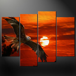 Wholesale Hand painted Hi Q modern landscape oil painting on canvas Soaring eagle on the sea set framed