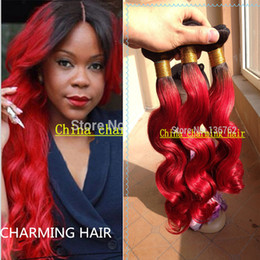 ombre Hair Extension 3pcs 1B  Red Body Wave Virgin Hair Body Wave Red Remy Human Hair Weave
