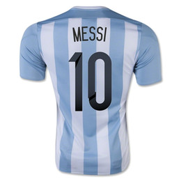 Wholesale Drop Shipping Accepted Customized Thai Quality Argentina Home jersey MESSI Football Soccer Tops Jersey New Soccer Shirts