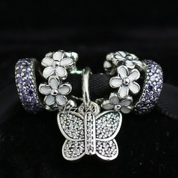 Authentic 925 Sterling Silver Charms and Murano Glass Bead Set Fits European Pandora Jewelry Charm Bracelets- EA33